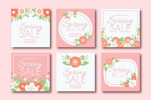 Mooie lente verkoop instagram berichten set