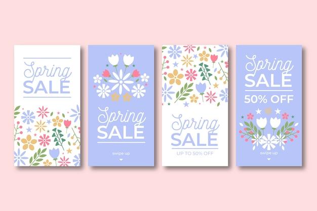 Mooie lente verkoop instagram verhalen ingesteld