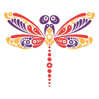 Mooie libeltattoo. artistiek patroon in vlindervorm