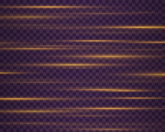 Mooie lichtfakkels laserstralen horizontale lichtstralen