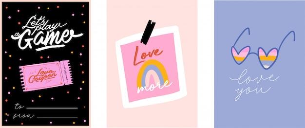 Mooie liefdesprint met valentijnsdag-elementen. romantische en schattige elementen en mooie typografie. handgetekende illustraties en belettering. goed voor bruiloft, plakboek, logo, t-shirt.