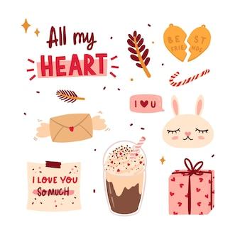 Mooie liefdesstickers met schattige elementen en mooie letters in romantische stijl.