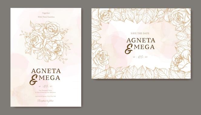 Mooie lijn kunst bruiloft uitnodiging sjabloon