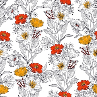 Mooie lijn schets van bloeiende bloemen botanische plant bloem achtergrond naadloze patroon eps10