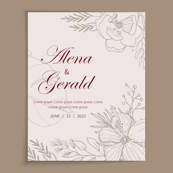 Mooie lijntekeningen bloem trouwkaart uitnodiging