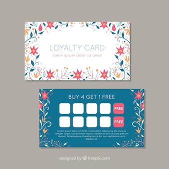 Mooie loyaliteitskaartmalplaatje met bloemenstijl