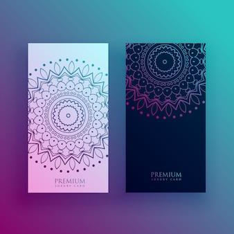 Mooie mandala kaart ontwerpsjablonen