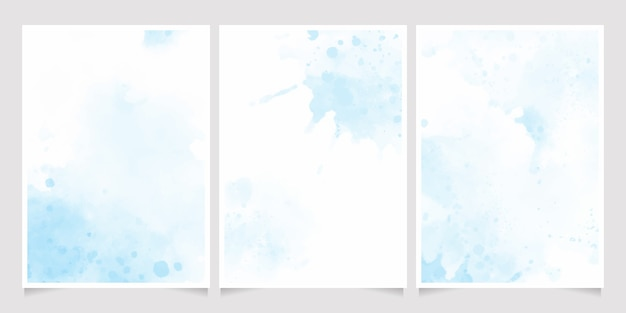 Mooie marineblauwe aquarel natte wassplons uitnodiging kaartsjabloon collectie