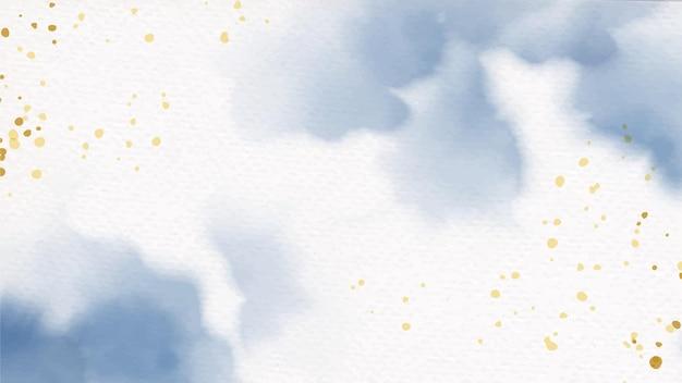 Mooie marineblauwe en gouden aquarel natte wasplons