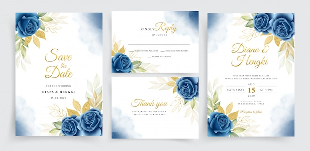 Mooie marineblauwe en gouden bloemenkrans op de kaartsjabloon van de huwelijksuitnodiging