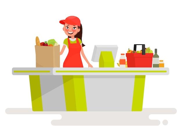 Mooie meisjekassier bij de kassasupermarkt. vectorillustratie in cartoon-stijl