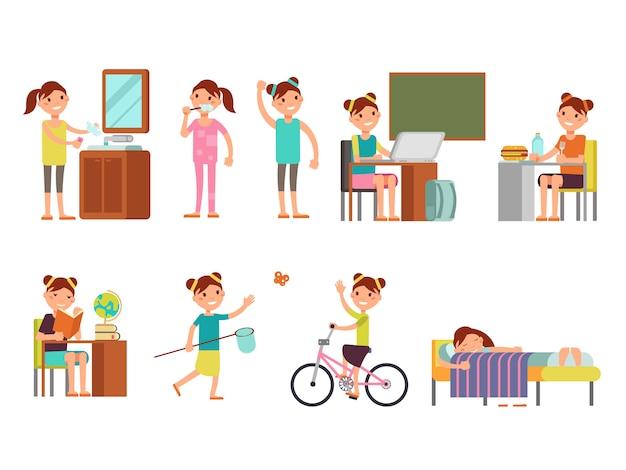 Mooie meisjeskind dagelijkse schema vectorillustratie