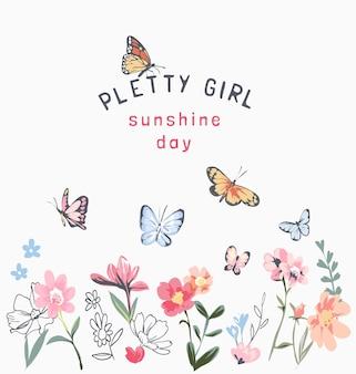 Mooie meisjesslogan met kleurrijke bloemen en vlindersillustratie