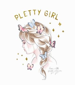 Mooie meisjesslogan met schattig paardenstaartmeisje met kleurrijke vlinders en gouden glitterillustratie