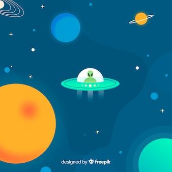 Mooie melkwegachtergrond met vlak ontwerp