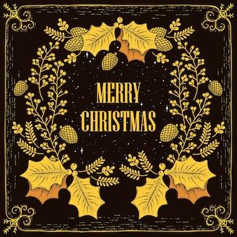 Mooie merry christmas krans kaart ontwerp in hand getrokken stijl