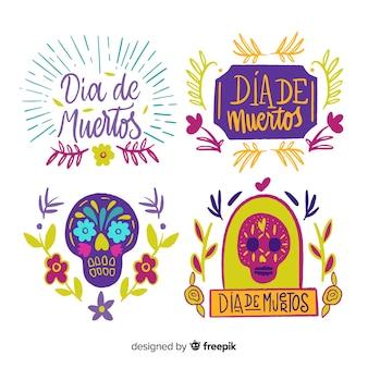 Mooie mexicaanse festiviteitspentincollectie met vlak ontwerp
