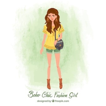 Mooie mode meisje in boho-stijl