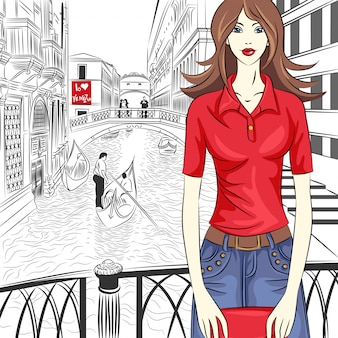 Mooie mode meisje in rood shirt in schets-stijl op een straat van venetië