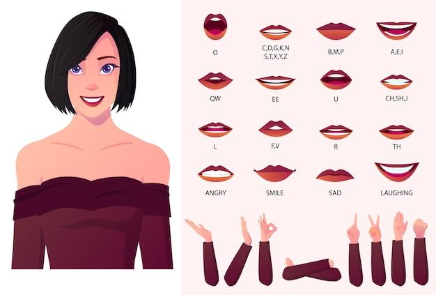 Mooie mode woman character lippen-sync en face animation pack met handgebaren. vector