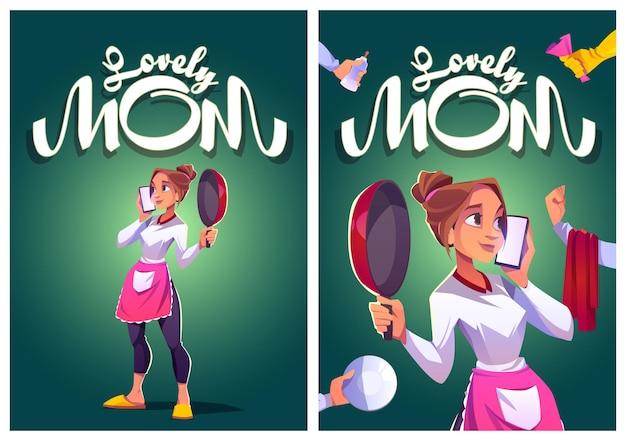 Mooie moeder cartoon posters jonge huisvrouw in keukenschort spreken door smartphone met kookpan...