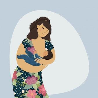 Mooie moeder die haar babykind de borst geeft.
