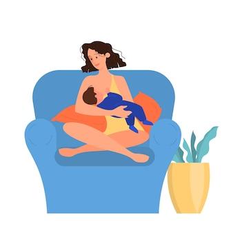 Mooie moeder die haar kind de borst geeft. illustratie van gelukkige jeugd en gezinsliefde. vrouw zit in de leunstoel die haar baby vasthoudt en hem borstvoeding geeft.