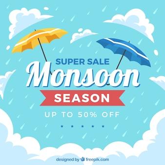 Mooie moesson-verkoopsamenstelling met plat ontwerp
