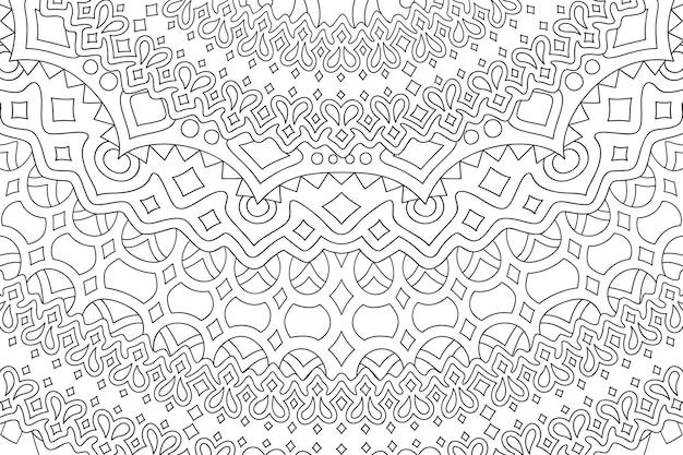 Mooie monochrome lineaire afbeelding voor volwassen kleurboek met abstract gedetailleerd patroon