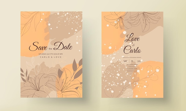 Mooie monoline bloem en blad bruiloft uitnodigingskaart