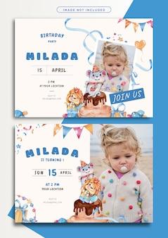 Mooie monster thema verjaardag uitnodiging kaartsjabloon