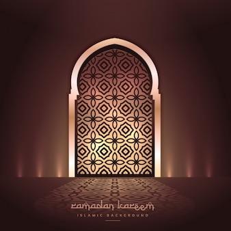 Mooie moskee deur met verlichting en patroon ontwerp