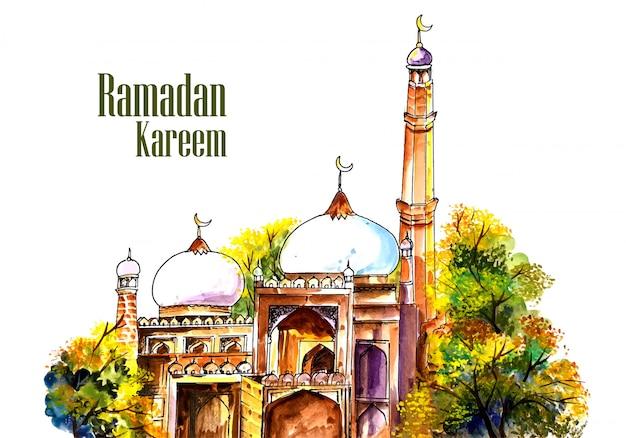 Mooie moskee die ramadan kareem achtergrond hijgen