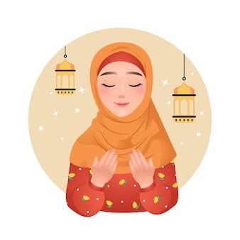 Mooie moslimvrouw in hijab bidden vormen ramadan kareem-illustraties