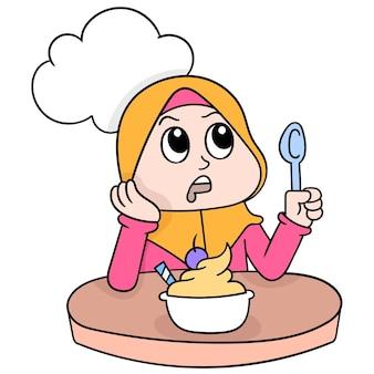 Mooie moslimvrouwen die hijab dragen, wachten op de tijd om hun vasten, vectorillustratiekunst te verbreken. doodle pictogram afbeelding kawaii.