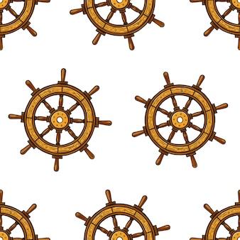 Mooie naadloze achtergrond van maritieme stuurwielen