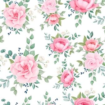 Mooie naadloze patroon bloeiende bloemen
