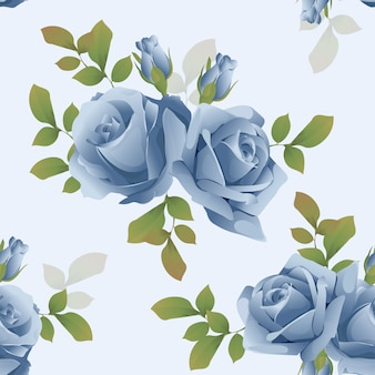 Mooie naadloze patroon bloemen blauwe roos vector