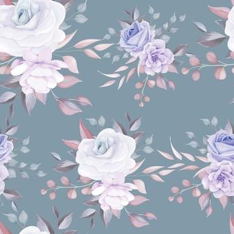 Mooie naadloze patroon bloemen met zachte paarse bloemen