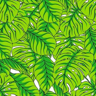 Mooie naadloze patroon met groene palmbladeren.