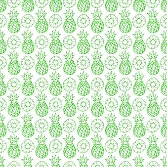 Mooie naadloze patroon met schattige groene ananas