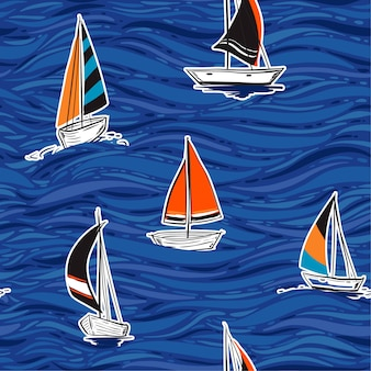 Mooie naadloze patroon vector illustratie kleurrijke zomer hand tekening golf stijl ontwerp voor mode, stof, behang, web en alle prints