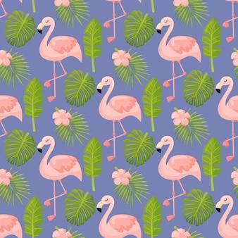 Mooie naadloze vector bloemen zomer patroon achtergrond met tropische palmbladeren flamingo