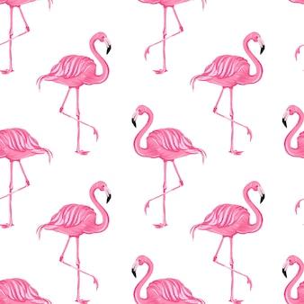 Mooie naadloze vector tropische patroon met roze flamingo's abstracte zomer background