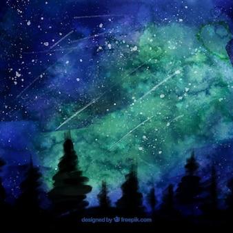 Mooie nacht landschap aquarel achtergrond met sterren