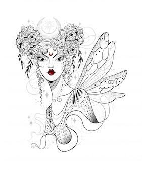 Mooie nachtfee met grote vleugels