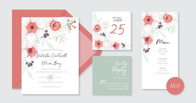 Mooie narcissen bruiloft uitnodiging sjablonen