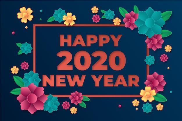 Mooie nieuwe jaar 2020 achtergrond in papierstijl
