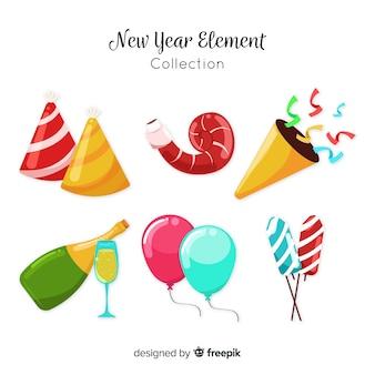 Mooie nieuwe jaarfeest element collectie met platte ontwerp