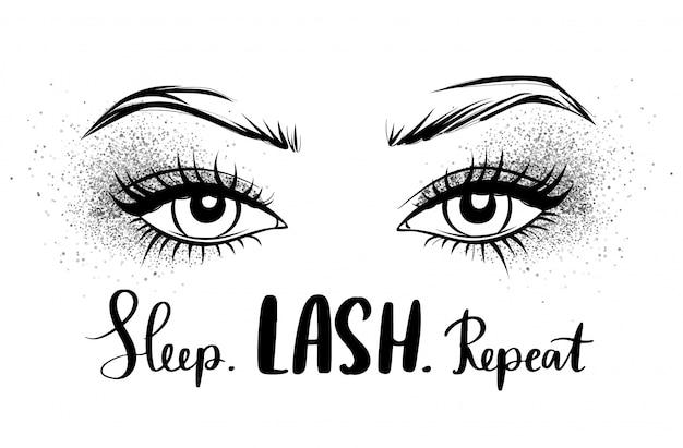 Mooie ogen met lange zwarte wimpers en zilveren glitteroogschaduw.